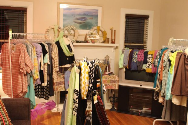 I couldn't believe how my tiny living room quickly morphed into a girly, fun boutique in a matter of minutes.